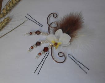 Floral headdress of an orchid for bride or witness - chocolate and ivory