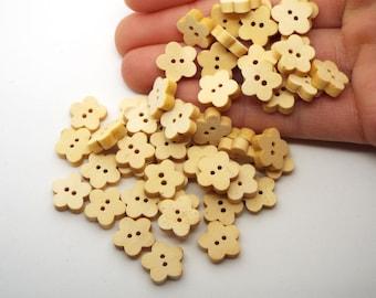Flower shaped 2 hole light wooden buttons 13mm