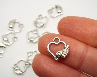 Open Heart with Wing Charm 13 x 12mm, Silver Coloured