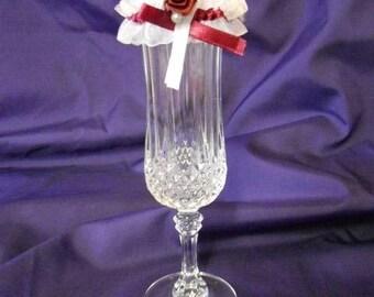 Mini white and Burgundy garter Deco wedding custom color