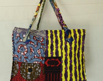Tote bag chic No. 31 fabric stuffed with closing zipper and two pockets