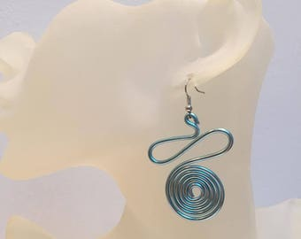 Blue spiral aluminum Wire Earrings