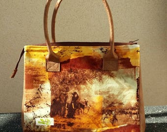 Africa print velvet and leather look bag