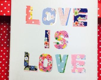 Love is love collaged canvas original artwork wedding engagement gift