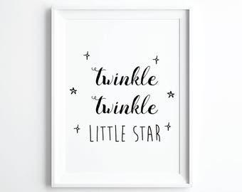Twinkle Twinkle Little Star Printable Art, Star Baby Shower, Twinkle Baby Shower, Little Star Baby, Nursery Wall Art, Digital Downloads