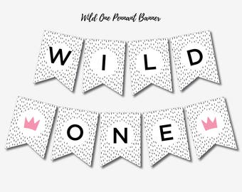 Wild One Birthday Party Printable Banner, First Birthday Party Decorations, Happy Birthday Banting, Instant Download, Digital Download