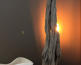 wood lamp , unique wood lamp , driftwood effect , LED light , design nature