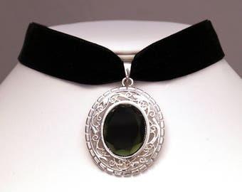 Glass Cabochon black velvet Choker