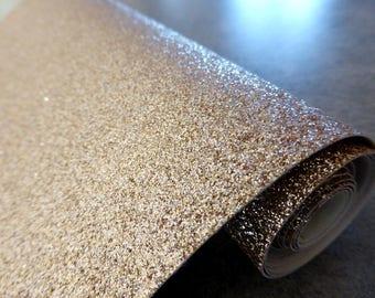 Tissu micro paillettes, glitter coloris sable doré 30/25cm, à coudre pour customisation, couture et DIY , lavable