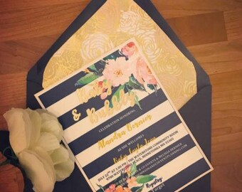 Kate Spade Inspired Navy White and Gold Summer floral baby shower invitation