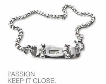 sterling silver skateboard chain bracelet