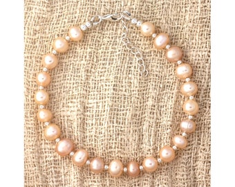 Pink cultured pearls and 925 sterling silver beads bracelet