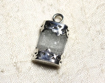 N12 - Pendant 925 sterling silver and stone - aquamarine rough 25mm