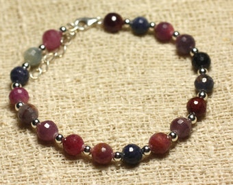 Bracelet 925 sterling silver and Ruby and Sapphire beads faceted 6mm