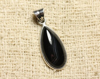 925 sterling silver and black Agate - stone pendant drop 25 mm