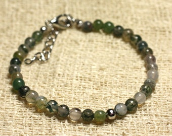 925 sterling silver and semi precious 4mm Moss Agate bracelet