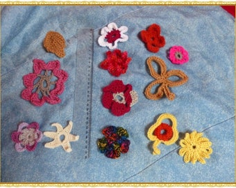 set of 13 crocheted flowers