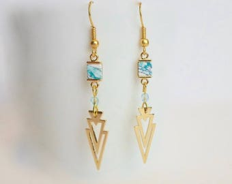 Geometric gold triangle pendant gold plated hook earrings and Mint marble