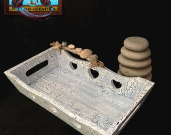 Top tray SEA wood Crackle effect and decor made with Driftwood
