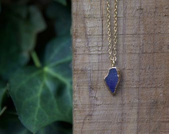 Dark Blue Sea Glass Necklace
