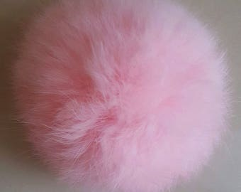 large round genuine rabbit fur Pompom pink clear 7/8 cm
