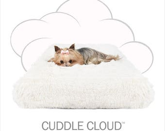 "Peluche Plush Cuddle Cloud Ivory Shag Dog Bed - 24"" Square"