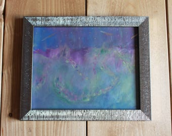 Aurora Borealis painting, northern lights painting, acrylic painting, unique artwork, scandic wall art, vibrant wall painting, colorful art.