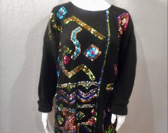 Silk Blend Sequin Sweater;oversized;vintage 90s
