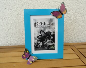 picture frame blue purple and yellow butterflies