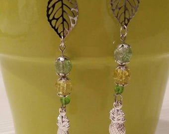 Pineapple color Silver earrings