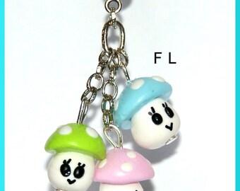 Kawaii mushroom trio chain pendant necklace