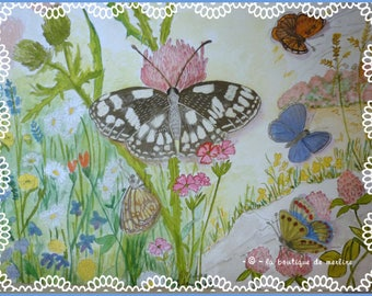 Decoration: drawing and watercolor for flight of butterflies