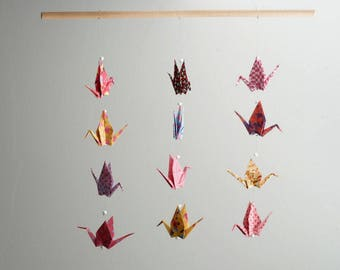 Hanging mobile paper origami - cranes curtain