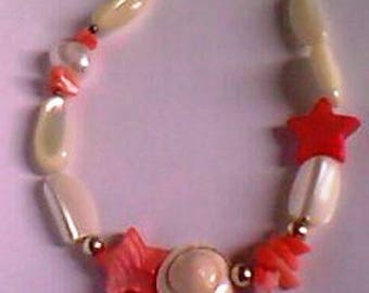 handmade - mother of Pearl, coral, shell - Silver 925 - modern pearl bracelet