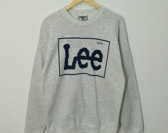 RARE!! Vintage Lee Spellout Sweatshirt Jumper Pullover Sweater Hoodies Made In USA