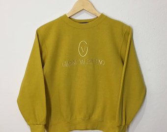 RARE!! Vintage Gianni Valentino Embroidery Sweatshirt Spellout Pullover Sweater Jumper Hoodies