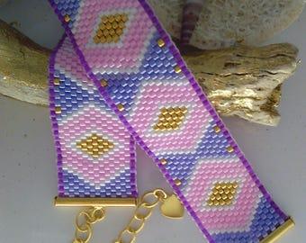brick stitchen miyuki Delica peyote stitch Cuff Bracelet