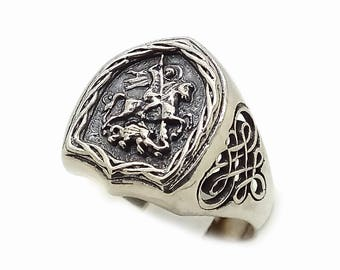 George the Victorious Men's Black Ring Sterling Solid Silver 925 SKU700180