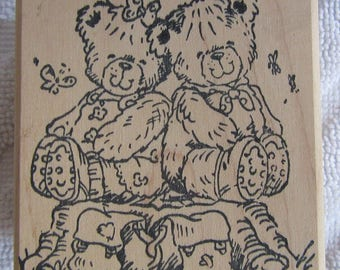 Penny Black wood mounted stamp Just The Two of Us from the Michael Woodward collection Rambling Teddies