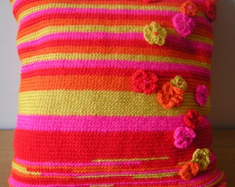 Pillows with crocheted flowers, Fuchsia-red-orange and yellow, square 40 cm, closing with crocheted buttons, gift for her