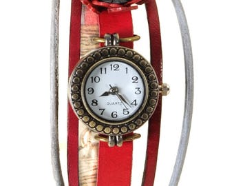 Watch jewelry Prague red and grey with a sea anemone leather