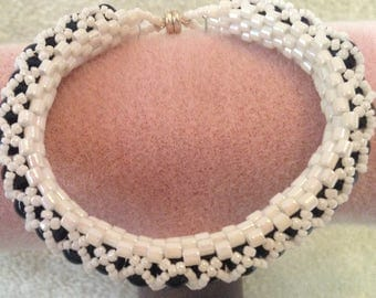 Navy Blue and White Bangle-Type Bracelet