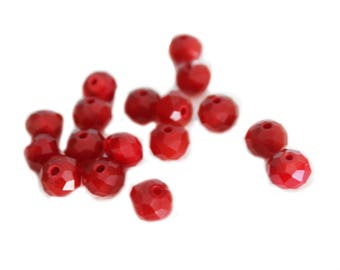 Set of 17 Burgundy faceted beads