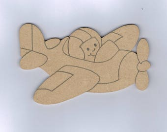 Airplane with pilot wooden MDF holder to decorate, paint 12.5 x 8 cm approx