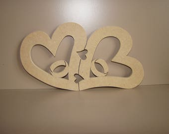 Hearts with alliance medium MDF blank wooden painting 25.5 x 14 cm