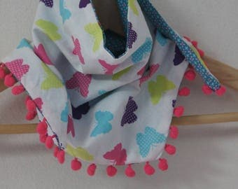 "Reversible child's scarf ""butterflies and flowers"""