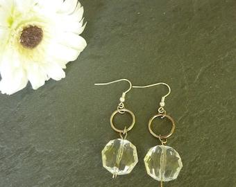 clear bead Silver earrings