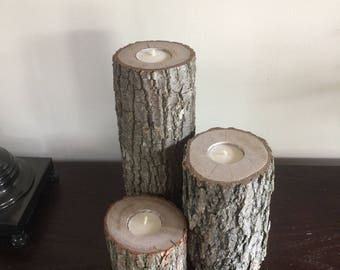 Rustic, all wood, candle holder