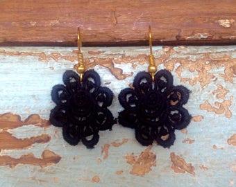 """Earrings lace """"Fleur Design"""" - flower jewelry lace"""