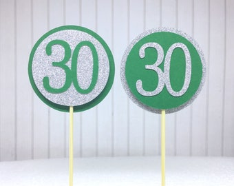 "30th Birthday Cupcake Toppers - Silver Glitter & Emerald Green ""30"" - Set of 12 - Elegant Cake Cupcake Age Topper Picks Party Decorations"